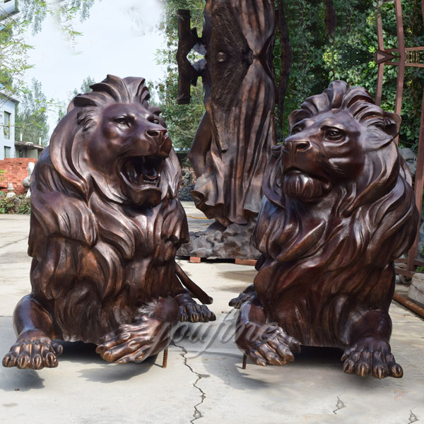 Large bronze lion statue at entrance for American customer