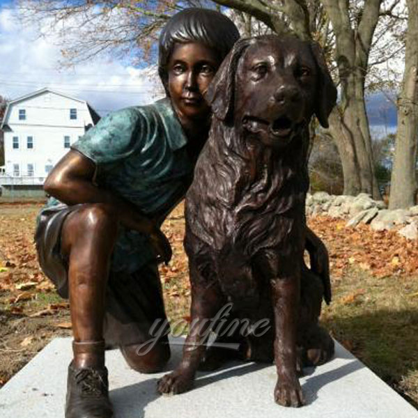Life size bronze boy and dog statues for customer from Australia