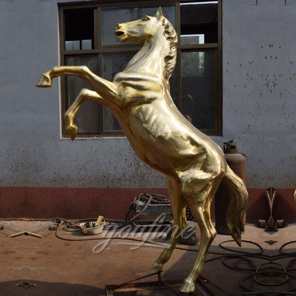 Outdoor Large Bronze jumping horse statues