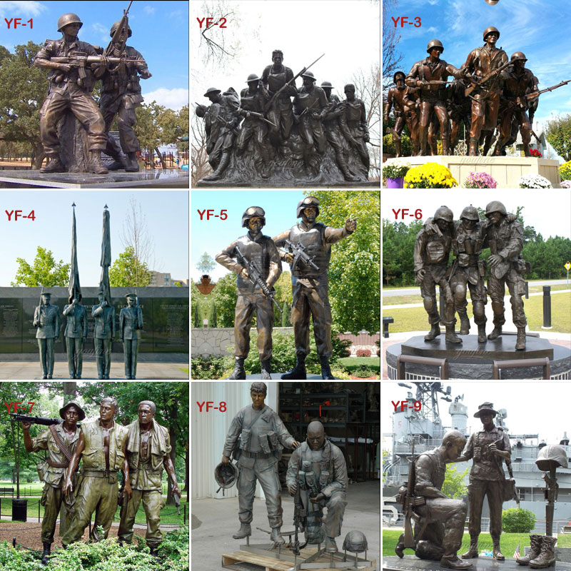 Bronze casting massive military figures statues design