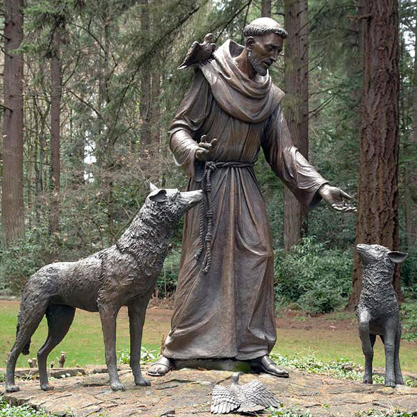 Bronze religious statues of St.Francis with wolf for park decor