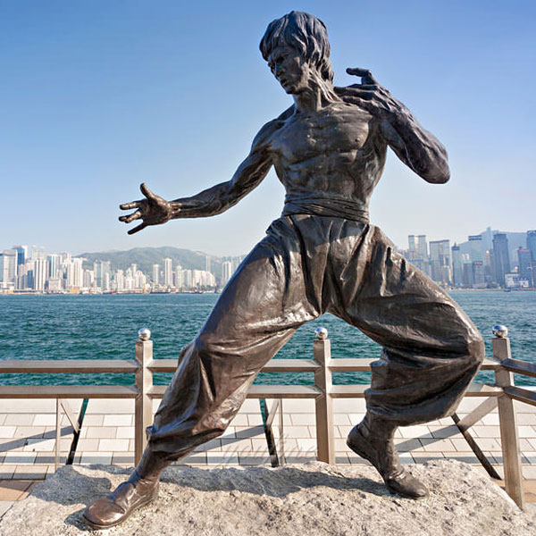 Chinese Famous Kongfu Star Bruce Lee bronze casting public figure statues