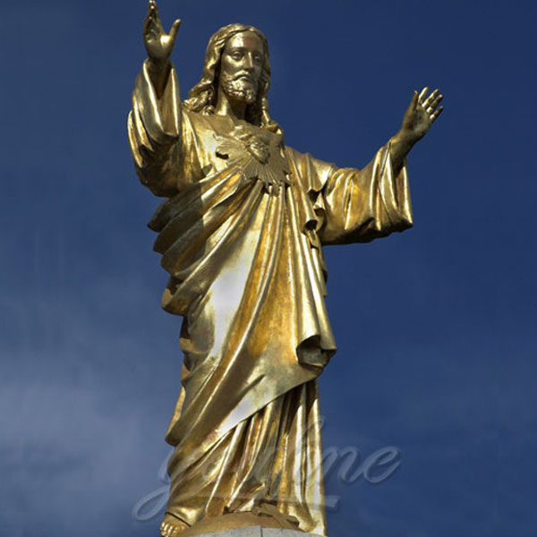 Church religious bronze casting statues of sacred heart of jesus open hands
