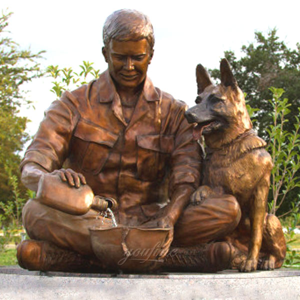 Life size military soldier and dog garden statues