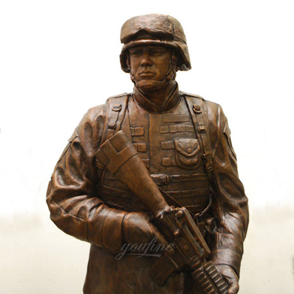 Life size patriotic military bronze casting soldier statues designs