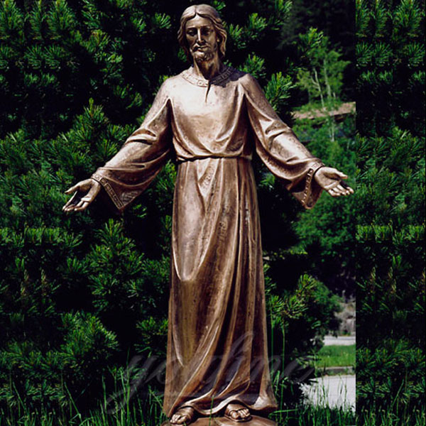 bronze casting life size religious statues of Jesus open hands as outside decor