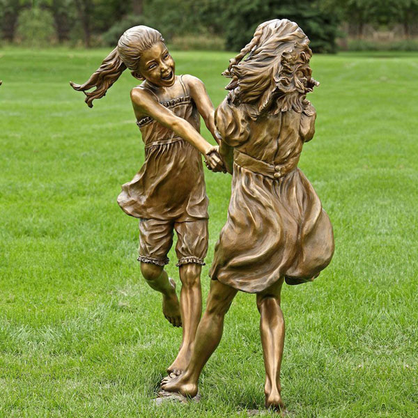 Metal garden park bronze two little girls lawn statues design