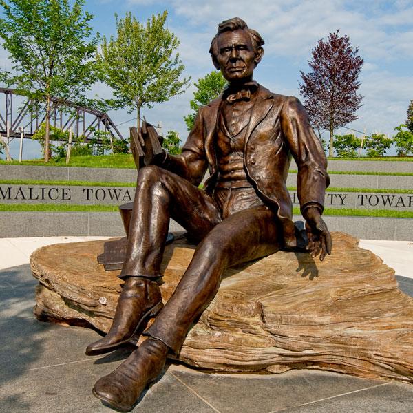 Outdoor garden decor famous figure bronze casting statues Lincoln for sale