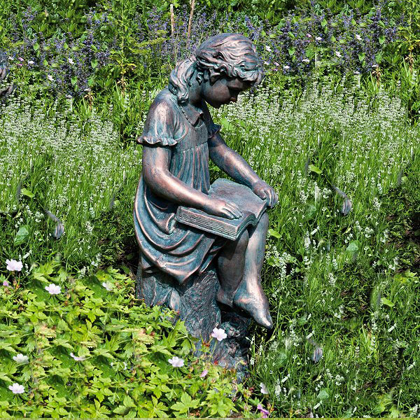Outdoor garden decor little girl reading books statues to buy
