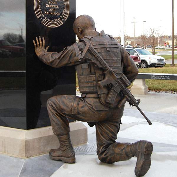 Outdoor lawn decor military bronze soldier statues for sale