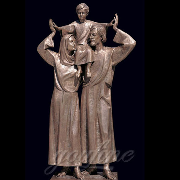 Outdoor metal bronze casting art religious statues of holy family mary jesus and joseph
