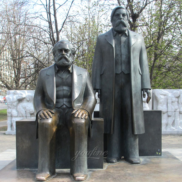 Outdoor metal bronze casting public figure statues Marx and Friedrich Engels