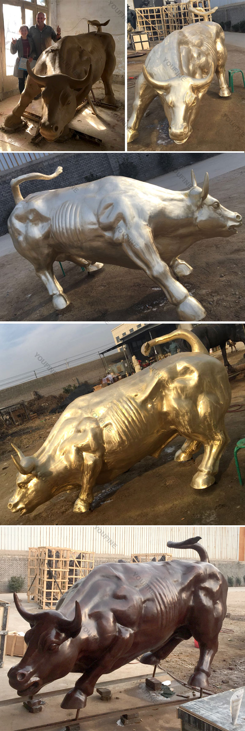 bronze casting art wall street bull statues for sale