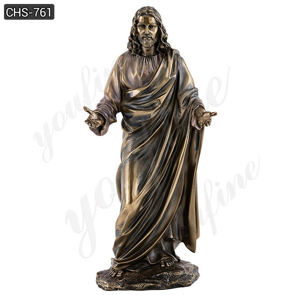 Life Size Christ Sculpture Sacred Heart Of Jesus Bronze Statue with Hands Open