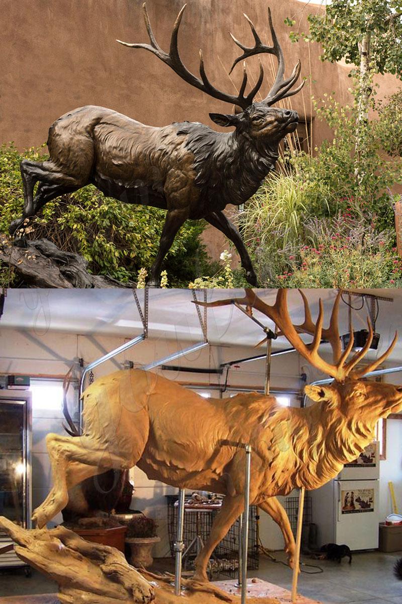 Life size bronze elk deer statue