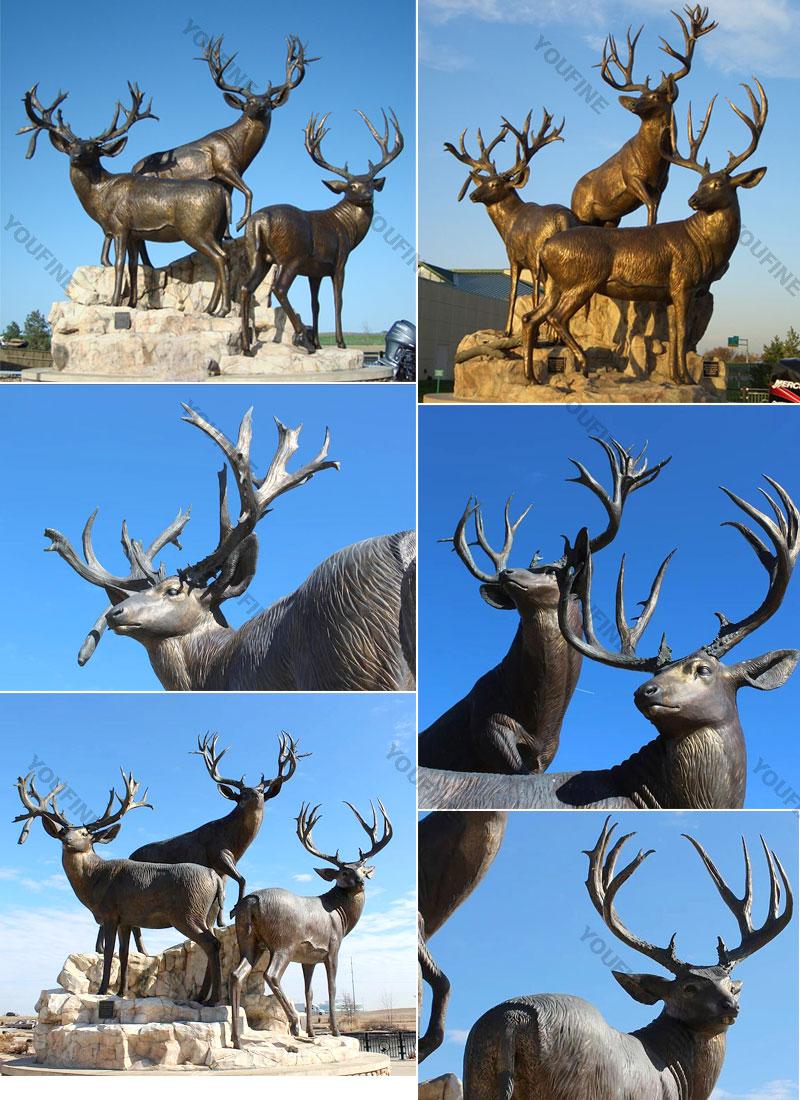 bronze deer statue for garden