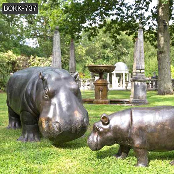 Buy Life size bronze hippo statue for decor BOKK-737