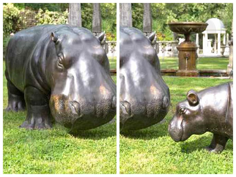 life size bronze hippo statue for sale