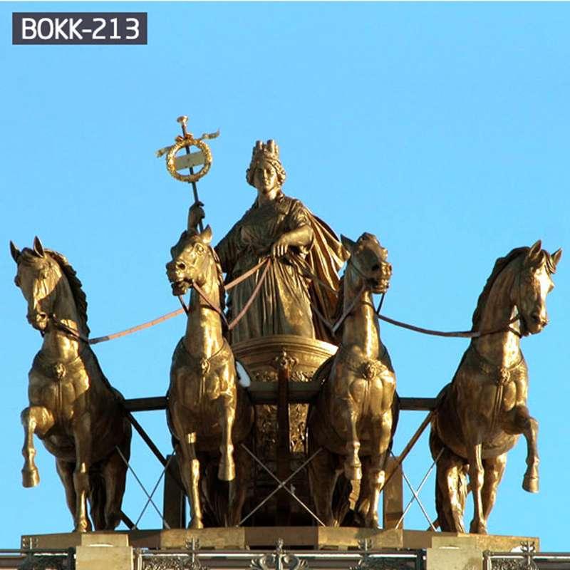 Huge Western Classical Bronze Chariot Sculpture