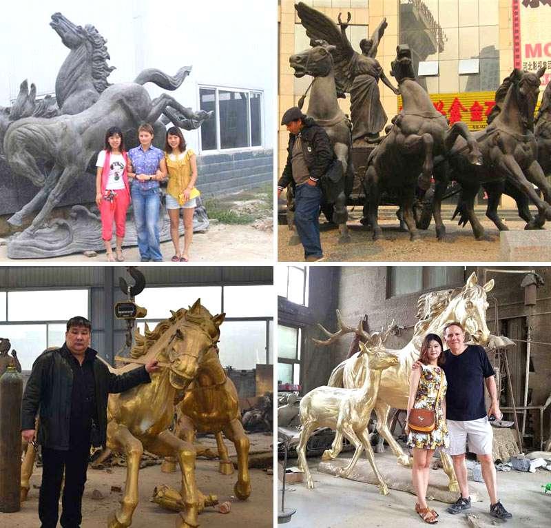 Western Classical Bronze Chariot Sculpture