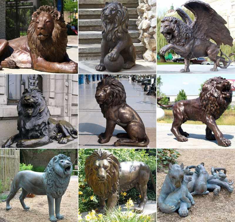 Golden Bronze Wings Lion Statue