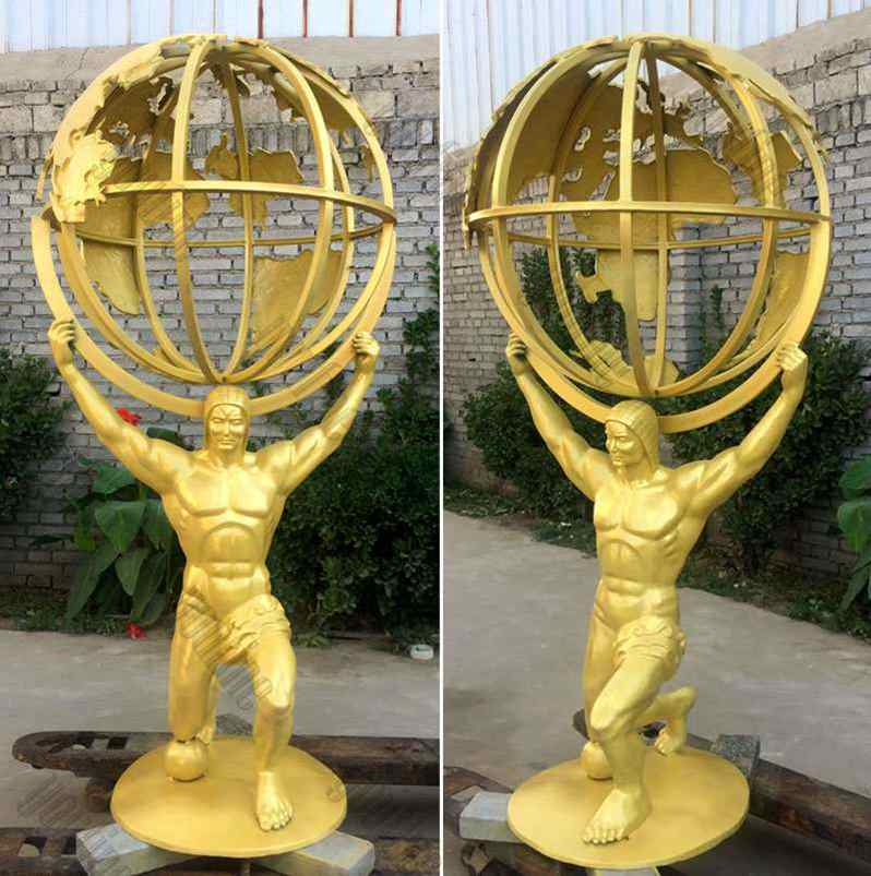Buy Full Size Bronze Atlas Holding World Greek Statue for sale