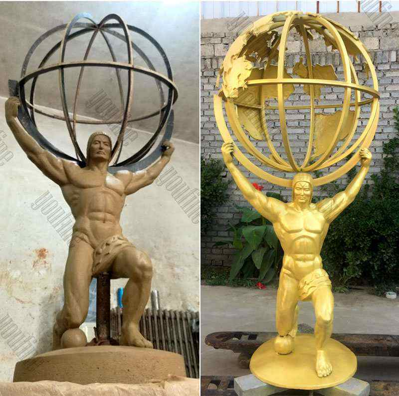 Buy Full Size Bronze Atlas Holding World Greek Statue