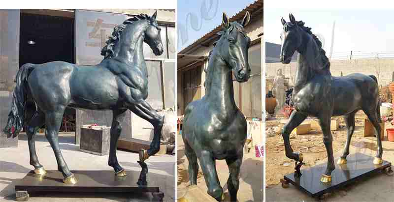 Bronze Horseman Statue Sculpture for Garden Decor