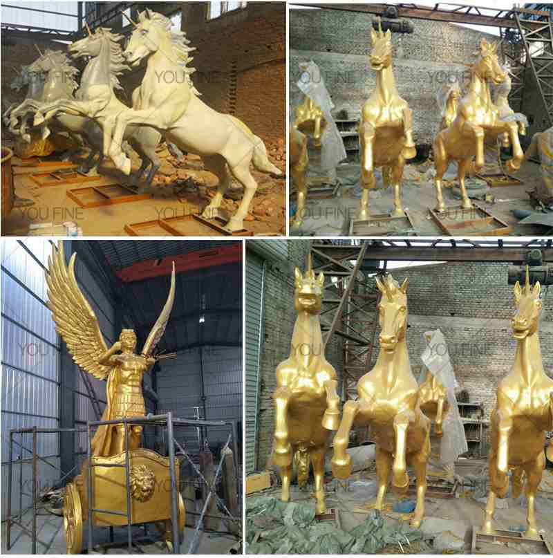High Quality Large Bronze Chariot Statue for Sale