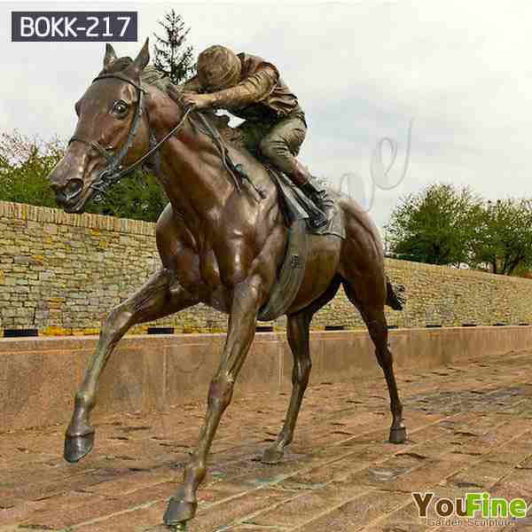 Life size bronze Horse Sculpture Artists with Horse Man Statue with Low Price BOKK-217