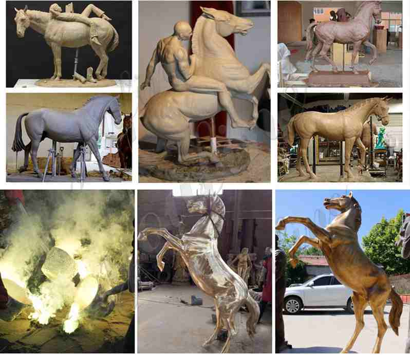 bronze horse sculpture artists with horse man statue with low price BOKK-217