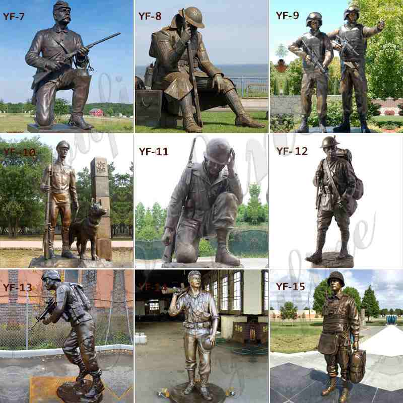 Bronze Military Monuments Statues for Outdoor Garden Decor