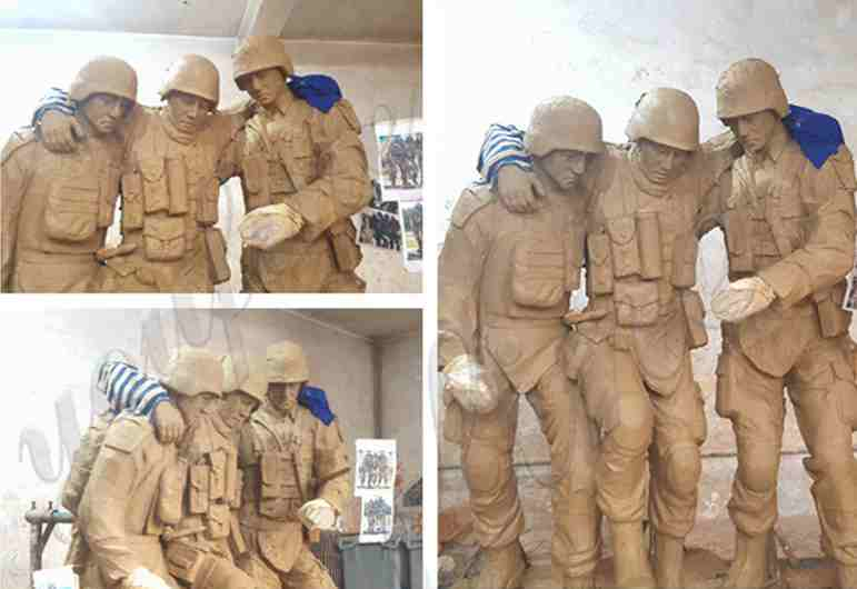 Bronze Military Soldier Statues Group for Outdoor Memorial