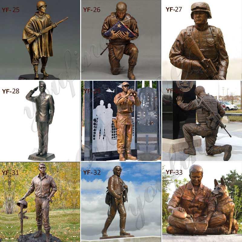 Bronze Army Soldier Garden Statue for Outdoor