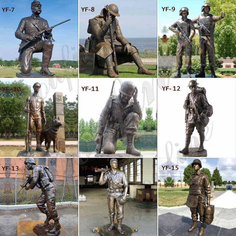 Customized Bronze Military Statue with Dog Sculpture