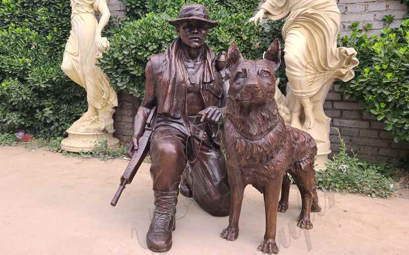 High Quality Bronze Military Statue with Dog
