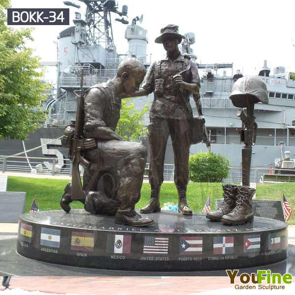 High Quality Casting Bronze Soldier Cross Statue for sale BOKK-34