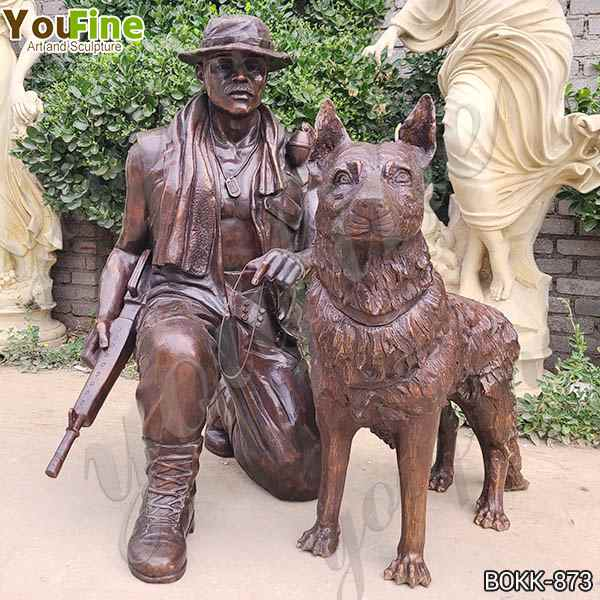 High Quality Customized Bronze Military Statue with Dog Sculpture for Garden BOKK-873
