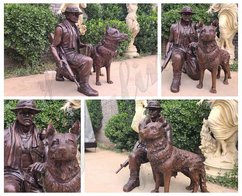 High Quality Customized Bronze Military Statue with Dog Sculpture for Garden