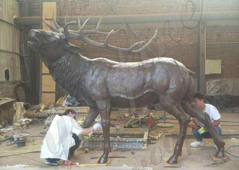 Large Size Bronze Reindeer Statue Animal Sculpture