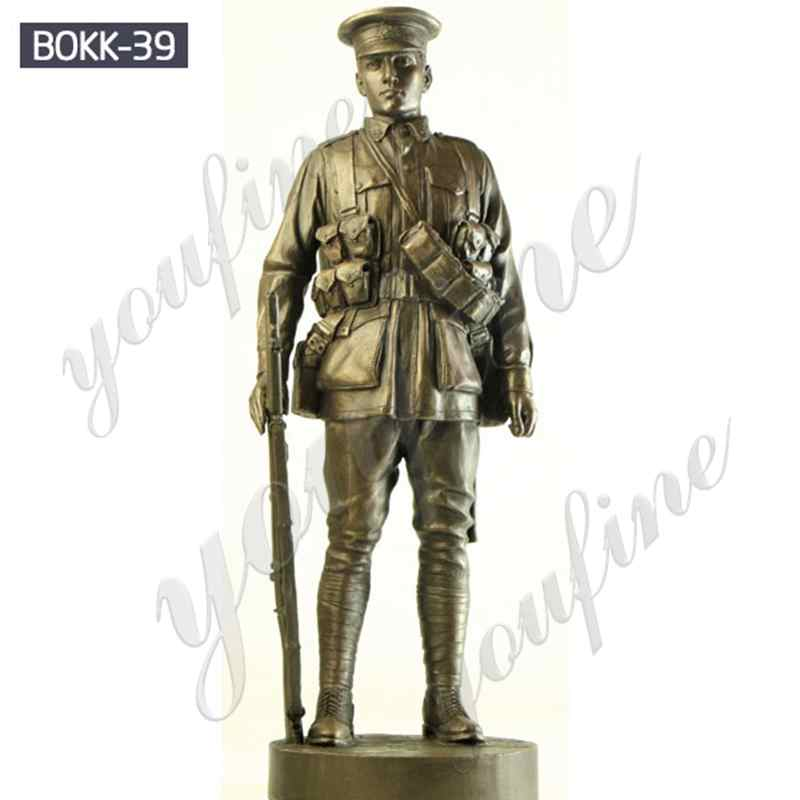 Life Size Bronze Army Soldier Garden Statue for Outdoor Decor