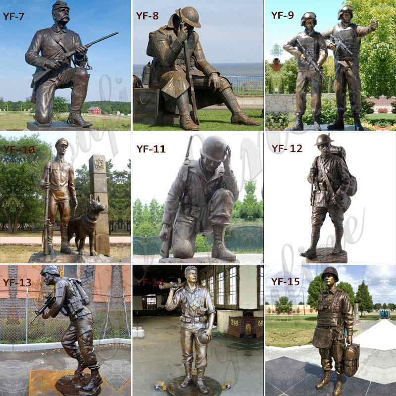 Life Size Bronze Army Soldier Garden Statue for Outdoor