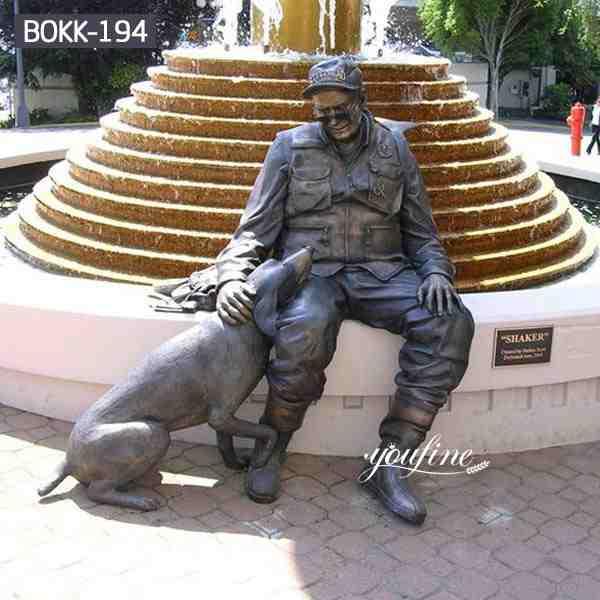 Custom Design Bronze Military Sculpture with Dog