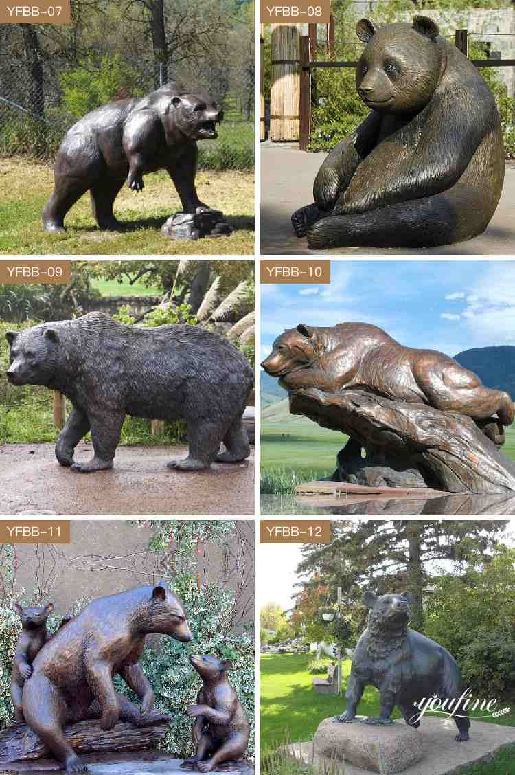 High Quality Bronze Bear Statue And Eagle