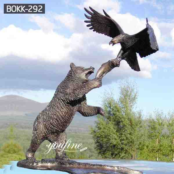 High Quality Bronze Bear Statue And Eagle Sculpture for Garden Decor BOKK-292