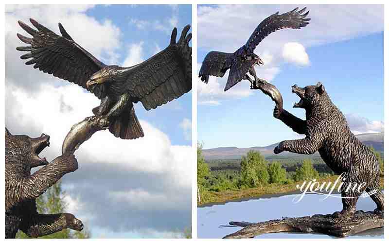 High Quality Bronze Bear Statue And Eagle Sculpture for Garden Decor