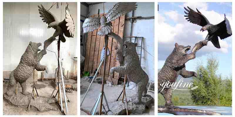 High Quality Bronze Bear Statue Eagle Sculpture