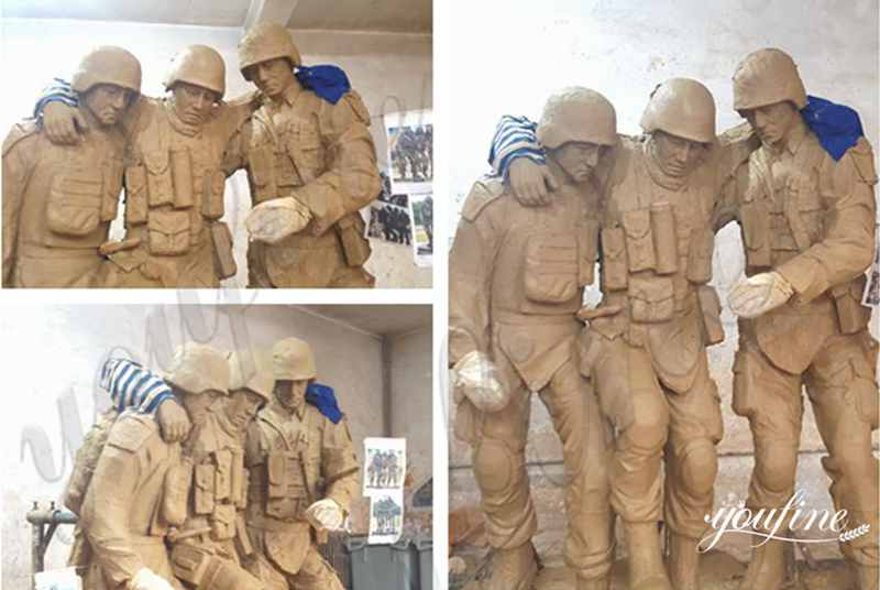 Life Size Custom Design Bronze Military Sculpture with Dog Statue for Sale BOKK-194