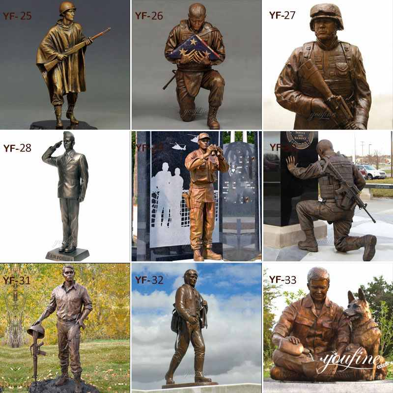 Life Size Custom Design Bronze Military Sculpture with Dog Statue for Sale