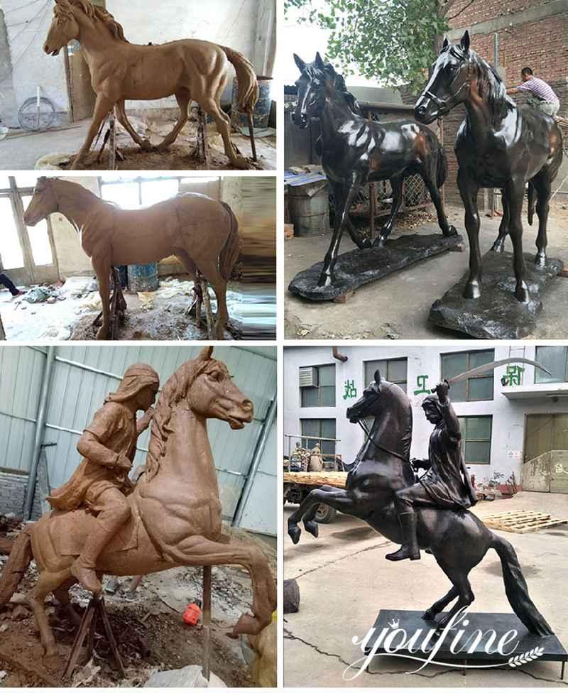 Life-size bronze horse statue